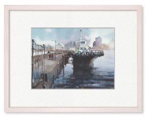 川村省吾さん「港の朝」(B5)横浜港での朝の空気感を表現したいと思いました。