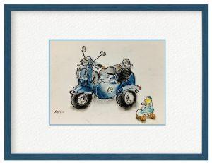 山田聖子さん「ただいま参上!」(B5)乗り物が好き、小鳥が好き、好きな物を描きました。不規則なペンの線とパステルは相性がよいです。
