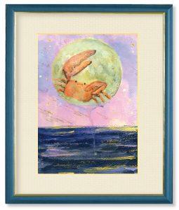 渡瀬千華さん「月夜のカニちゃん」(F4)月の兎は角度を変えるとカニに見えるそうです。常に柔軟に色んなことを色んな角度から。月夜とカニちゃん!