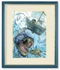 ノーチのしっぽ研究所さん「となりのセカイ」(F4)今日はみんなで作ったイカダで海へ冒険に行った。イカダの裏側にも青い世界が広がっていた。
