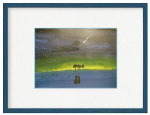 山本由紀子さん「ネオワイズ彗星」(B5)現実の世界では一緒にいられなかったくろとはち。絵の世界ではいつも一緒に色んなことをさせてあげたい。