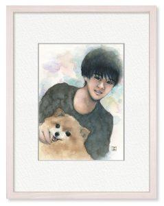 春野蒼空美さん「きみたちがいた夏」(B5)コロナの夏が終わり息子が大学寮に帰った頃、老愛犬が亡くなりました。二人の思い出を描き残しました。