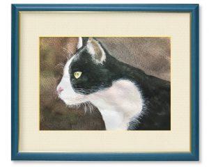 小川隆志さん「ロックオン」(F4)普段愛くるしい猫も獲物を見つけると野生の本能を見せます。ターゲットを見つめる一瞬を描いてみました。