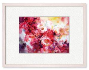 豊田明日香さん「薔薇の夢」(B5)赤い世界に咲いた薔薇を夢見心地に表現したいと思いました。