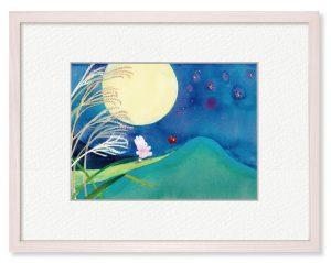松尾さん「ある満月の夜に」(B5)踊り出したくなるような見事な満月の日に、ふしぎないきものがお月見散歩に出かけるようすを絵にしました。