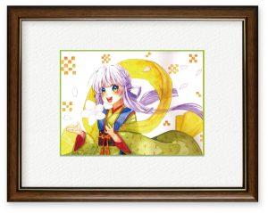 弥生さん「伊邪那美命」(B5)日本の神様、伊邪那美命が日本の花『桜』を舞い散らせ、全国を笑顔に出来るといいなと思い制作しました。
