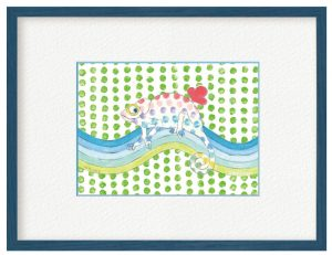菅原光穂さん「グリーン・ピース」(B5)カメレオンは自由な色に染まります。全ての人が好きな色で自由に表現する事が出来たら素敵ですね。