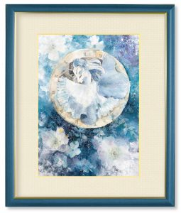 ソラコさん「やわらかな眠り」(F4)透明感のある青の中に、優しさを感じられる作品を目指しました。