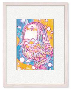 絢真さん「アマビエさま」(B5)人気者のアマビエさまを華やかな色彩で表現しました。早く平穏な日々が来ますように。