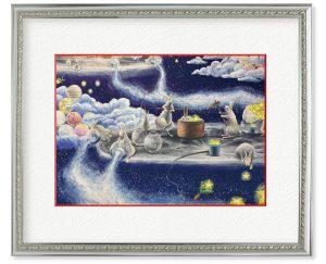 YUPAさん「星月」(F4)月の上で楽しくお仕事中のウサギたちを描きました。