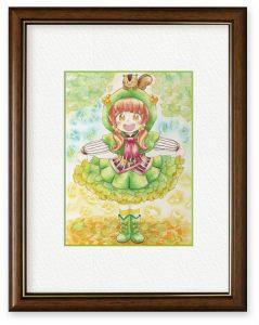 芋さん「銀杏娘のおめかし」(B5)色鮮やかなイチョウの葉がひらひら舞う様子がスカートに似てると感じて描きました