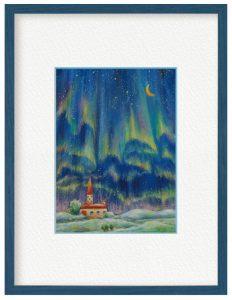 久保寺真由美さん「オーロラ」(B5)アクリル絵の具とパステルでオーロラを描きました。空に広がるオーロラと満天の星をイメージしています。