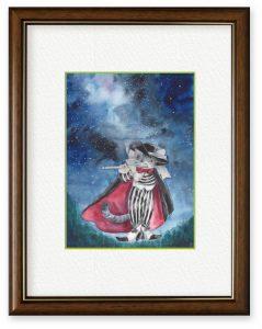 Naoka714さん「夜空に吹く」(B5)星が綺麗に見えるこれからの夜空に、今年の憂いを癒すかのごと笛を吹く猫を描きました。