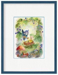 翡翠籠さん「妖精のお茶会」(B5)実り豊かな森では、妖精たちは果実やハーブの収穫をし、お茶会を開きます。その様子を描きました。