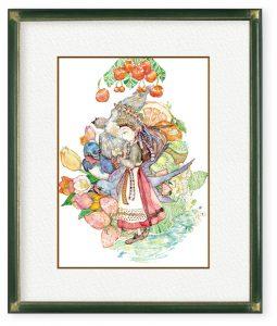 ぱとむさん「異国物語-親指姫-」(F4)民族調の衣装は異国の花嫁ドレス。春の陽気の中、新しく拓かれる道に期待や不安を込めて。
