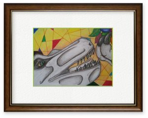 rabendaさん「出会い」(B5)肉食恐竜と果物の出会い、という夢のような場面を楽しく描きました。
