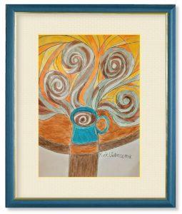 上沼千騎さん「薫りの渦」(F4)ある日にコーヒーが飲みたくなり、カップに注がれたコーヒーを見てこの絵画を思いつきました。