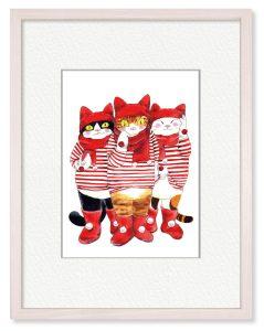 Naoka714さん「マフラー猫」(B5)ハチワレ、トラ、三毛、3匹の冬の装いです。マフラー、手袋、帽子、ブーツ暖かそうな赤でコーデしました。
