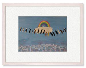 yukikoさん「お盆」(B5)虹の橋を渡った大切な家族が、お盆にみんな一斉に帰ってくる!嬉しい瞬間。