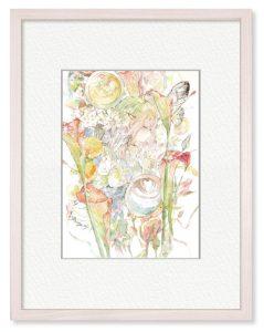 数佳さん「flower call」(B5)家にいる時間を大事に過ごせるようにと描きました。