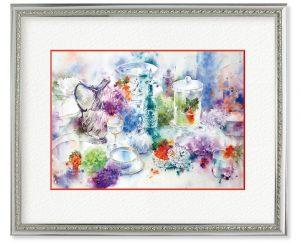 豊田明日香さん「雨の器」(F4)滲みを最大限生かし、器や紫陽花を描きたいと思いました。ガラスの輝き、艶やかな水面を意識しています。