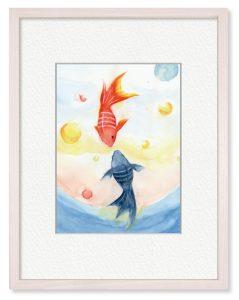 小笠原奈穂さん「鉢の外の金魚」(B5)中学校以来ぶりくらいに、水彩にチャレンジしました。