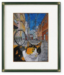 中村駿太さん「猫の街から」(F4)猫の住む街から平和な日常をお届けします。