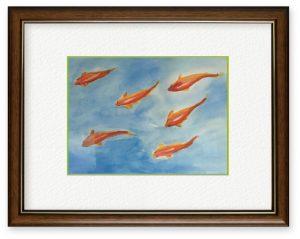 小川禮子さん「群泳」(B5)仲良く泳ぐさまを描きました。