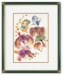 くりせ ゆうさん「秋を届ける妖精」(F4)実り豊かな秋を届けるために飛び立つ妖精たちを描きました。