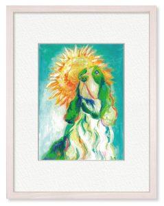 ねむいきりんさん「過ぎた夏と君を想う」(B5)アクリル絵の具を使って、思い出の中の眩しい、美しい愛犬を描きました。
