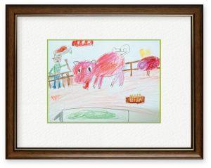Master Yotaさん「豚とおじさん」(B5)動物園で見たから
