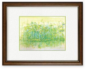 H.Koumuraさん「静寂」(B5)御射鹿池を画きました。余計な色はいれず、静かなイメージのみで