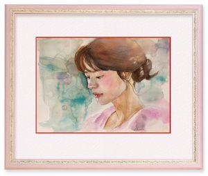廣瀬能理子さん「もの思う」(F4)何を考えているのか。女性のふとした表情を表現してみたかった。