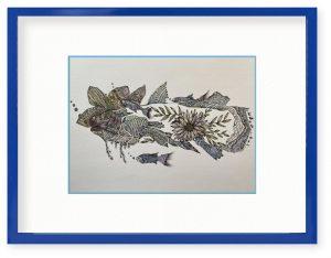 mooさん「シーラカンス」(B5)深海の静かな優雅な海の魚の世界をイメージしました。