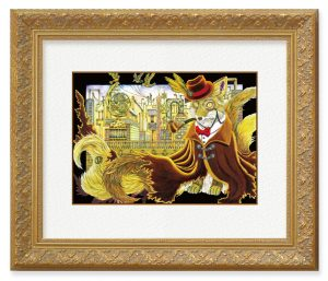 満月雫月さん「『夕暮れ時の浪漫紀行』」(F4)世界を旅する狐と、旅先をイメージして描きました。