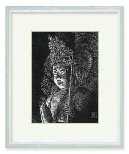 境寛さん「興福寺南円堂不空羂索観音菩薩坐像」(B5)黒一色のペン画に魅せられ、仏像や古社寺を訪ねて描いています。