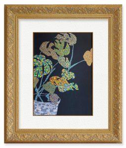 MikotoYoshinagaさん「jewel plants」(F4)植物の生命力に励まされる。角度によって色味が変わるラメ絵の具を使用し、宝石のように輝く植物を表現。
