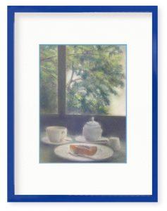 牧野瑠璃子さん「カフェの午後」(B5)自然はしなやかで力強いです。大きな窓の外の緑をながめていると、心が安らぎます。
