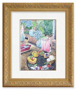 麻衣子さん「紫陽花のあるカフェ」(F4)昨年1回目の緊急事態宣言が解除されて恐る恐る行った時に描いた作品です。