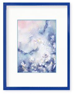 島村嘉巳さん「祝福」(B5)青い夜空の下に映える草原も、また蒼く。満ちる淡い光は、やわらかな祝福のよう。