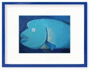 みをさん「水の中はひんやり」(B5)クレヨンを使ってアオブダイを描きました。顔の回りの模様が気に入っています。