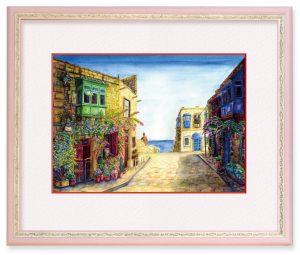 ろみさん「ビルグの街」(F4)マルタの古い街を描きました。初めての一人旅で、心細いながらも路地を曲がるたびにわくわくしていました。