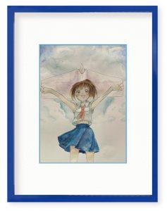 はくかさん「青空と紙ヒコーキ」(B5)スカッと楽しそうな気分になれるといいなぁと描きました。
