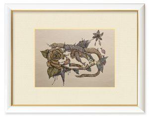 mooさん「花と魚」(B5)昔から花と魚を描くのが好きでした。