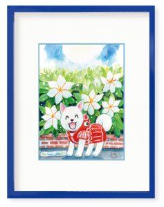 ひろせみつこさん「梅雨明けの匂い」(B5)希望あふれる花言葉を持つクチナシに明るい未来を託しました。