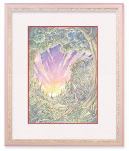 清水実羽さん「森の額装」(F4)小さく果てのない世界。フレームに惹かれてイメージし、描き上げました。