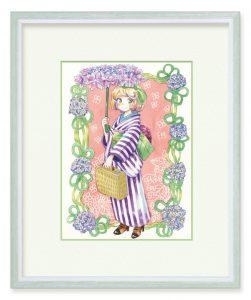 芋さん「水無月のおでかけ」(B5)紫陽花をモチーフに、梅雨でも出かけるのが楽しくなりそうなイメージで制作いたしました。