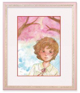 いしくらえんどうはるさん「13歳、桜の季節」(F4)桜の季節にした恋を想って描きました。思い出すと、春の陽光と空気の匂いが今も心に甦ります。