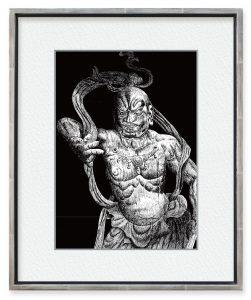 境寛さん「東大寺南大門金剛力士像吽像」(F4)飾り気のない豪快な力強い像です。単純な黒一色のペン画でその力強さを表したく描いたものです。