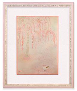 ゆりさん「シマエナガの訪れ」(F4)満開の枝垂れ桜に山から来たシマエナガ。舞い落ちる花びらに、喜んでる様子を思い浮かべながら描きました。